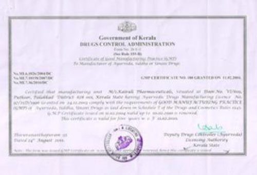 GMP Certificates for Kairali Ayurvedic Products