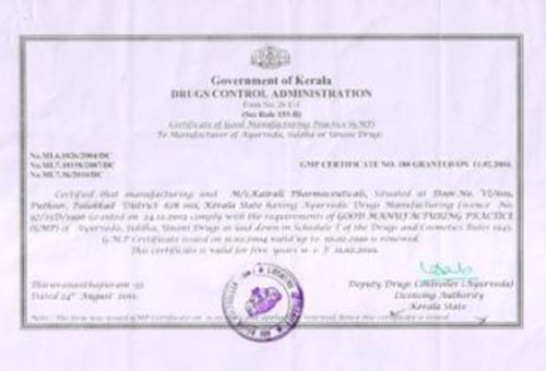 GMP Certificates for Kairali Pharmaceuticals